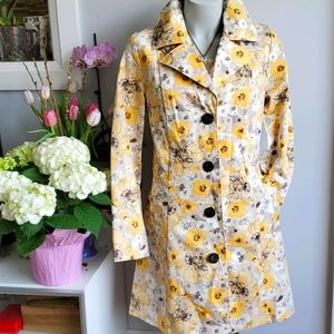 Merona trench coat, yellow floral pattern, M
